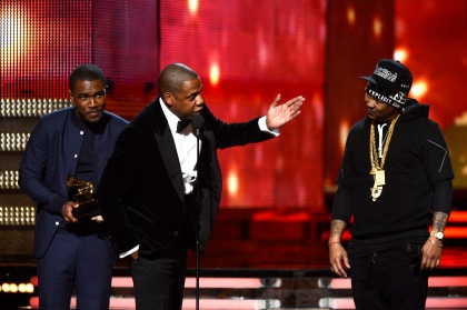 Musicians Frank Ocean, Jay-Z and The-Dream accept Best Rap/Sung Collaboration award for 'No Church in the Wild' onstage at the 55th Annual GRAMMY Awards at Staples Center on February 10, 2013, in Los Angeles, California. (credit: Kevork Djansezian/Getty Images)