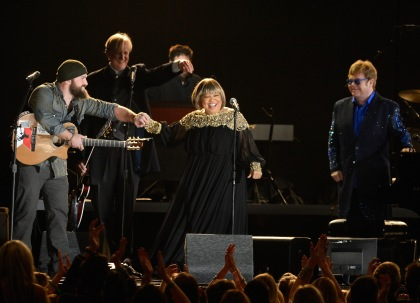 Musicians Zac Brown, T Bone Burnett, Mavis Staples and Elton John perform onstage at the 55th Annual GRAMMY Awards at Staples Center on February 10, 2013, in Los Angeles, California. (credit: Kevork Djansezian/Getty Images)