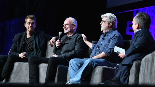 ORLANDO, FL - APRIL 13: Hayden Christensen,Ian McDiarmid, George Lucas and Warwick Davis attends the Star Wars Celebration day 01 on April 13, 2017 in Orlando, Florida. (Photo by Gustavo Caballero/Getty Images)