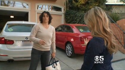 KPIX 5 reporter Susie Steimle speaks with Caroline Novak in front of a home in Redwood City. (CBS)