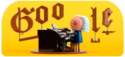 """This image provided by Google shows the animated Google Doodle on Thursday, March 21, 2019. Google is celebrating composer Johann Sebastian Bach with its first artificial intelligence-powered Doodle. Google says the Doodle uses machine learning to """"harmonize the custom melody into Bach's signature music style."""" (Google via AP)"""