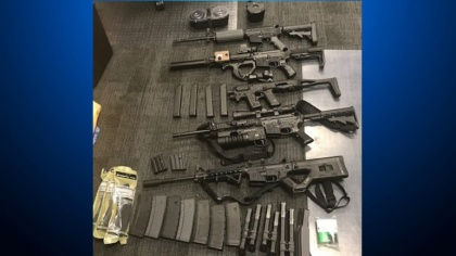 Weapons seized by the Contra Costa County Sheriff's Office while executing a search warrant in Foster City on June 20, 2019. (Contra Costa County Sheriff)