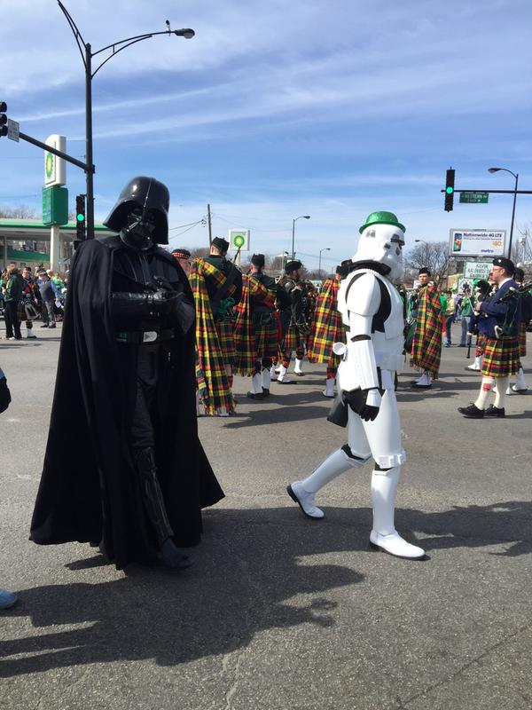 Darth Vader and a storm trooper marching in the 2015 South Side Irish Parade. (Credit: Mariam Sobh)
