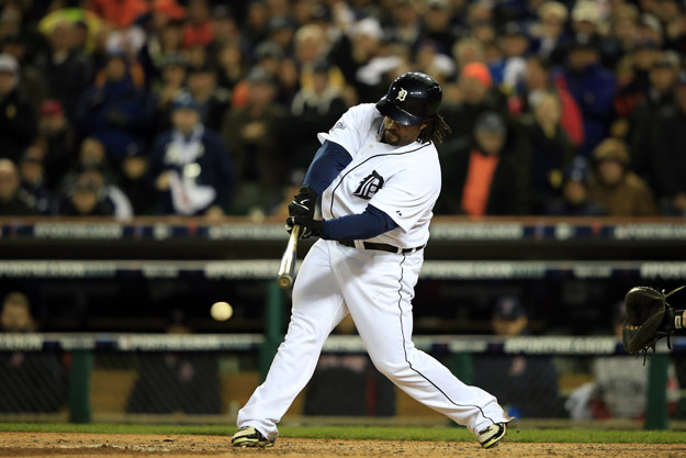 DETROIT, MI - OCTOBER 17:  Prince Fielder #28 of the Detroit Tigers bats against the Boston Red Sox during Game Five of the American League Championship Series at Comerica Park on October 17, 2013 in Detroit, Michigan.