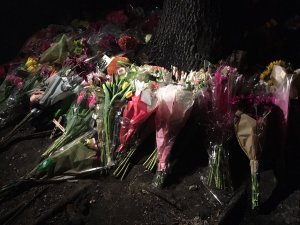 A growing memorial at the site where two Plano teens were killed in a crash. (Yona Gavino/Twitter)