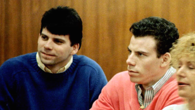 A 1992 file photo shows double murder defendants Erik (R) and Lyle Menendez (L) during a court appearance in Los Angeles, Ca. (credit: Mike NelsonAFP/Getty Images)