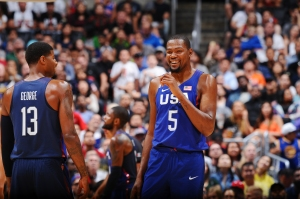 LOS ANGELES, CA - JULY 24: Kevin Durant #5 of the USA Basketball Men's National Team celebrates during the game against China on July 24, 2016 at STAPLES Center in Los Angeles, California. NOTE TO USER: User expressly acknowledges and agrees that, by downloading and/or using this Photograph, user is consenting to the terms and conditions of the Getty Images License Agreement. Mandatory Copyright Notice: Copyright 2016 NBAE