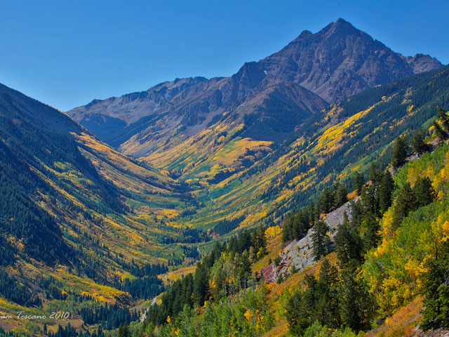 """Sam Toscano of Broomfield took this Colorado fall colors photo on Sept. 19, 2010, on Pyramid Peak """"from the top of Buttermilk Mtn."""""""