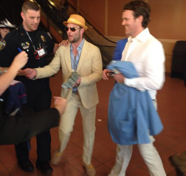 Wes Welker handing out money