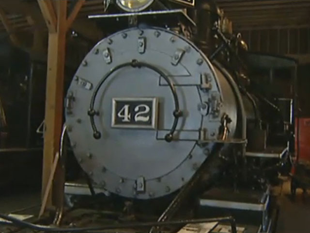 A locomotive at the Durango and Silverton Narrow Gauge Railroad museum (credit: CBS)