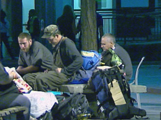 Homeless set up camp along the 16th Street Mall in Denver. (credit: CBS)