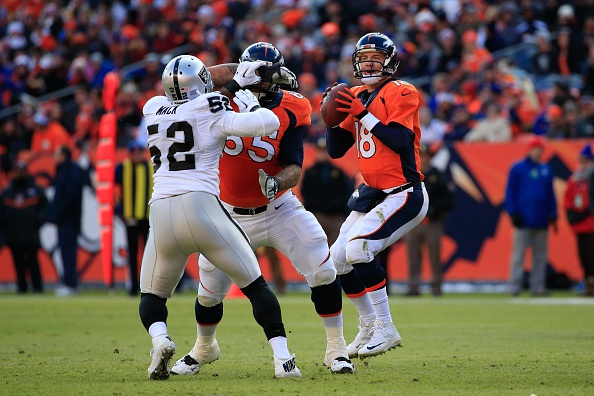 Quarterback Peyton Manning of the Denver Broncos drops back to pass against the Oakland Raiders during game at Sports Authority Field at Mile High on Dec. 28, 2014 in Denver, Colorado. (Photo by Doug Pensinger/Getty Images)