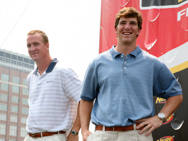 Indianapolis Colts quarterback Peyton Manning and New York Giants quarterback Eli Manning attends the NERF Father's Day Football Throwdown on June 14, 2008 at Chelsea Piers in New York.  (Photo by Astrid Stawiarz/Getty Images)