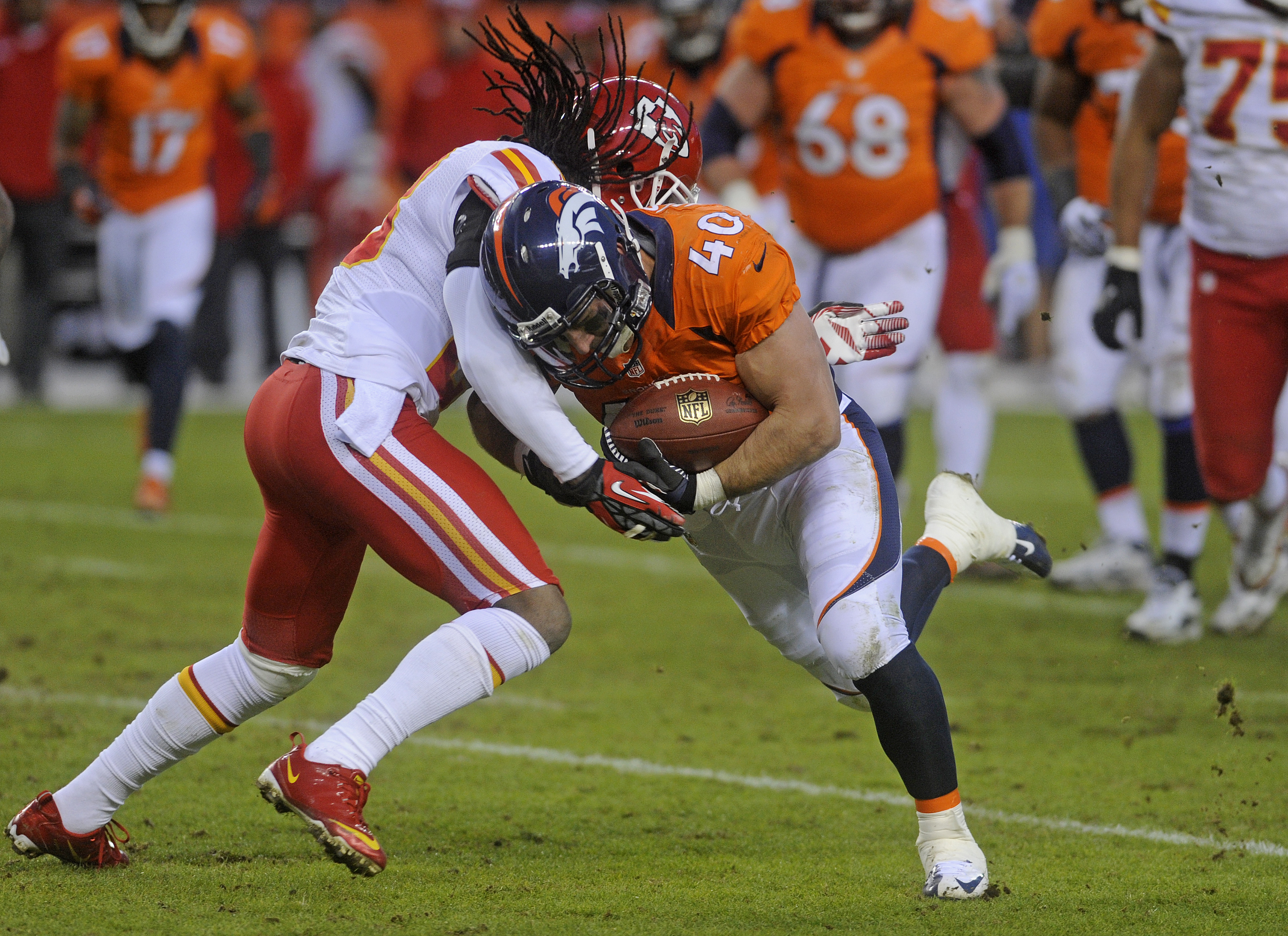 Denver Broncos full back Jacob Hester during the fourth quarter of play against the Kansas City Chiefs Sunday December 30, 2012 at Sports Authority Field at Mile High in Denver, Colo.  -- Photo by Evan Semón, For CBS4