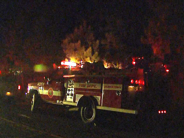 Firefighters at the scene of the brush fire near Boulder Monday night. (credit: CBS)