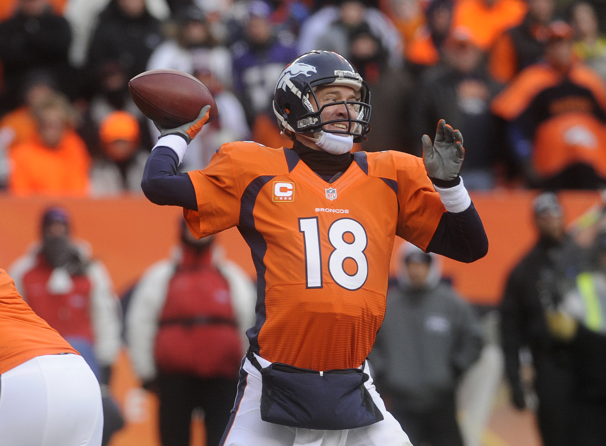 Peyton Manning in the Ravens game at Sports Authority Field at Mile High on Jan. 12, 2013. (credit: Evan Semón/CBS4)