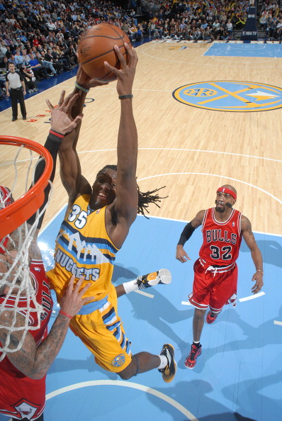 Kenneth Faried dunks against the Chicago Bulls on Feb. 7, 2013 at the Pepsi Center. (Photo by Garrett W. Ellwood/NBAE via Getty Images)