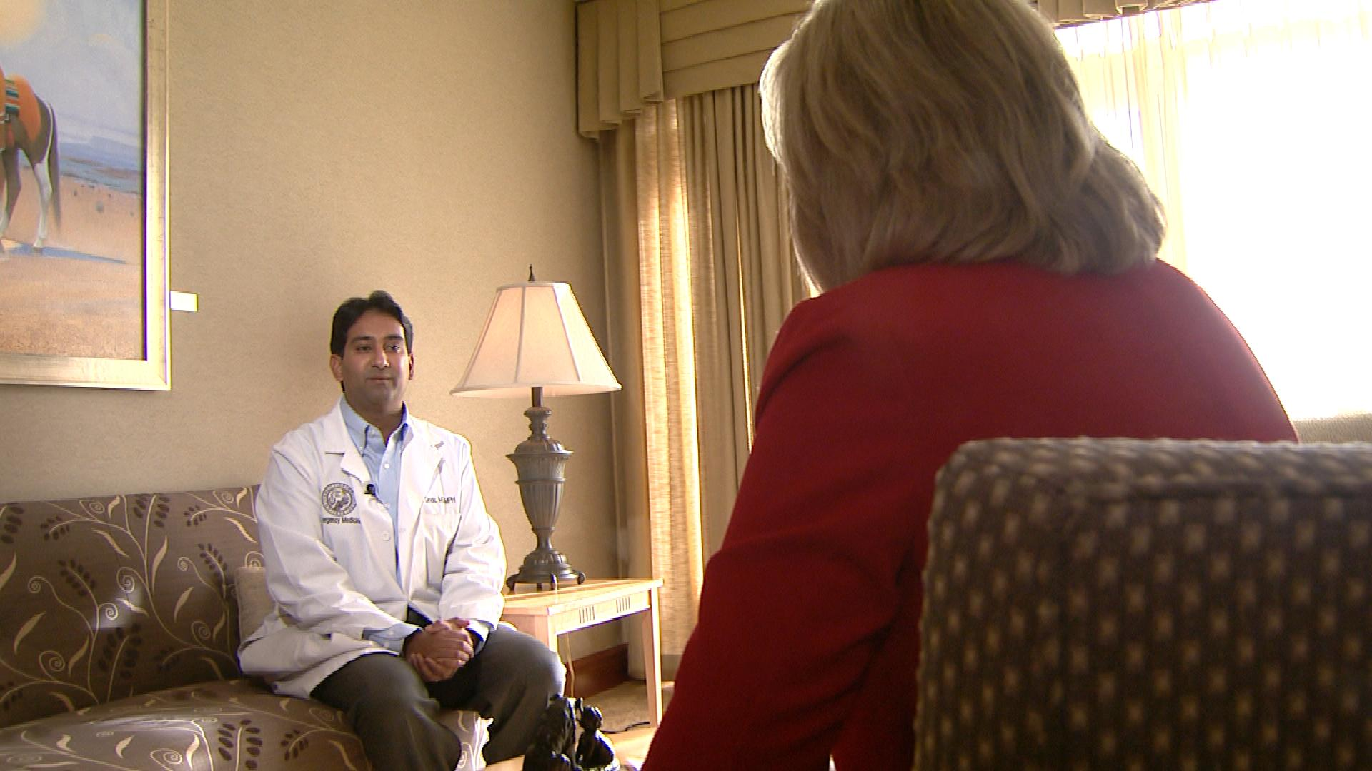 Dr. Adit Ginde talks with CBS4's Kathy Walsh (credit: CBS)