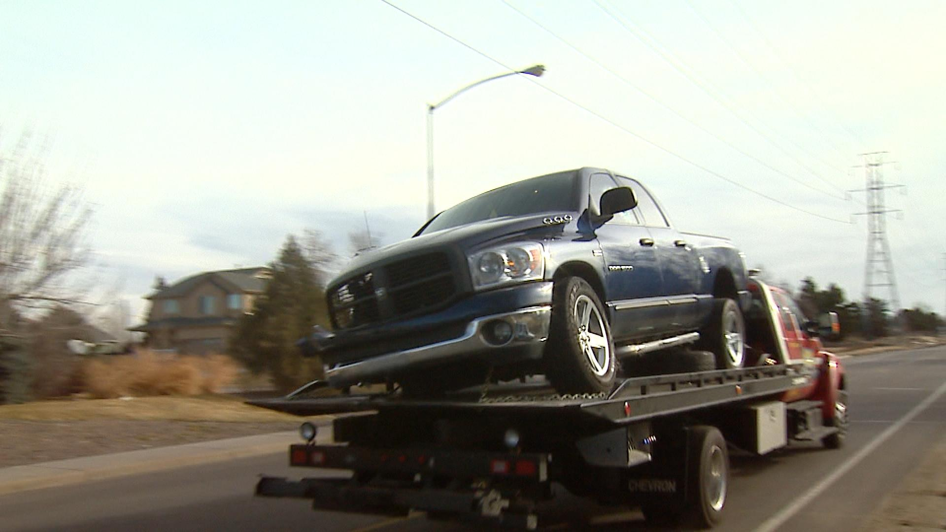 The truck involved in the crash (credit: CBS)