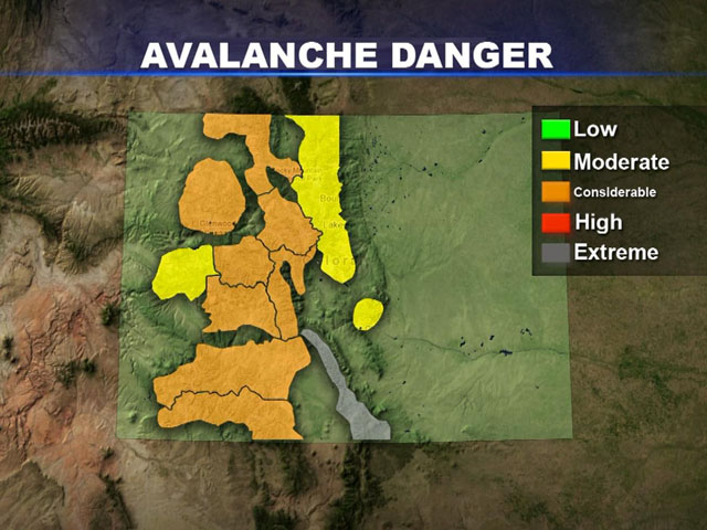 A map shows the avalanche danger in Colorado on March 4, 2013. (credit: CBS)