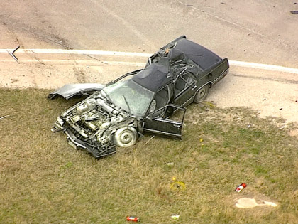 The vehicle in the high speed chase in Texas that may be linked to the Tom Clements murder. (credit: CBS)