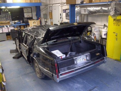 The 1991 Cadillac is being processed at the Wise County Sheriff's Office in Texas (credit: CBS)