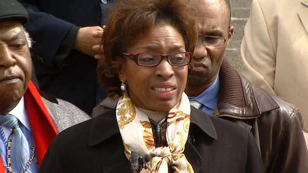Rep. Rhonda Fields gets emotional on March 1 (credit: CBS)