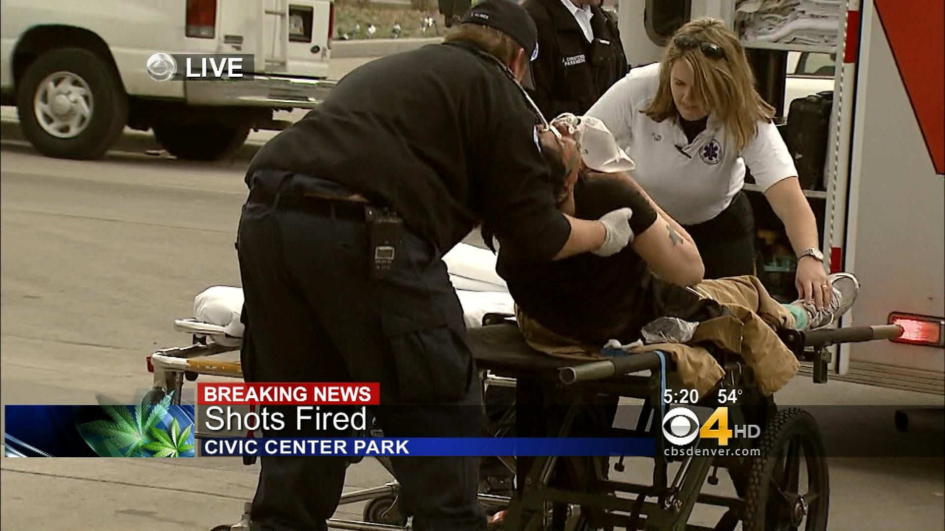The man being loaded into an ambulance (credit: CBS)
