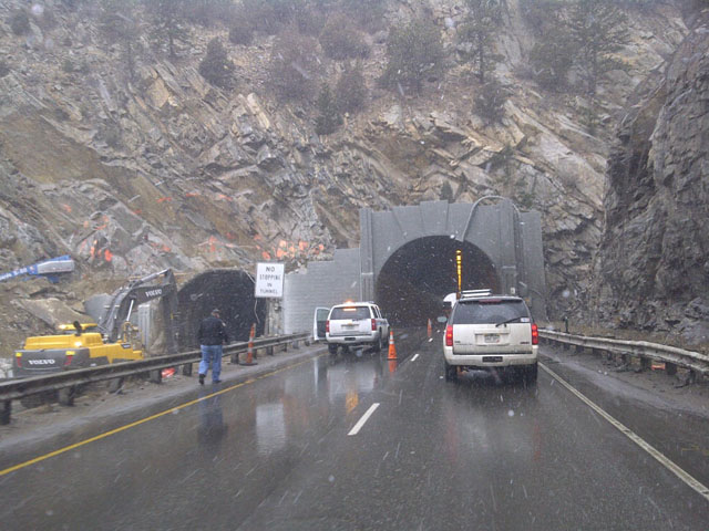 Crews work on the Twin Tunnels on Tuesday. (credit: CBS)