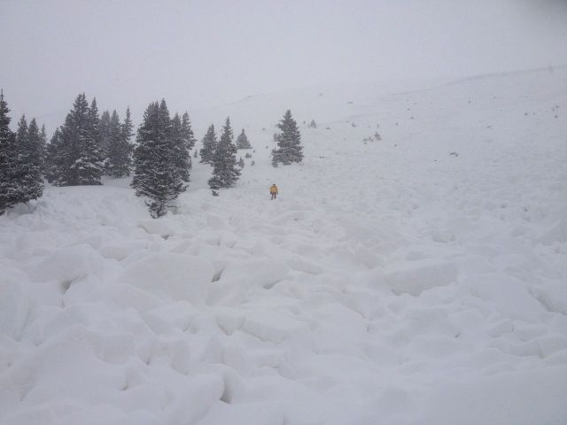 The avalanche on Loveland Pass that killed five snowboarders on Saturday (credit: CAIC)