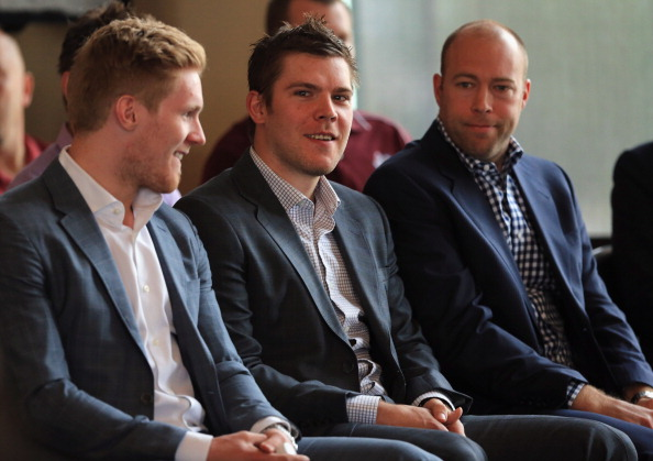 (L-R) Colorado Avalanche players Gabriel Landeskog, Paul Stastny and Jean-Sebastien Giguere attend the press conference.  (Photo by Doug Pensinger/Getty Images)