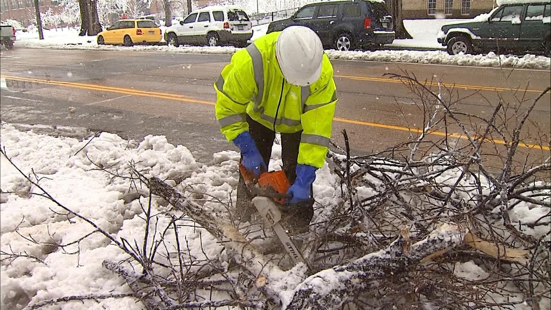Crews clearing streets of downed branches in Fort Collins (credit: CBS)