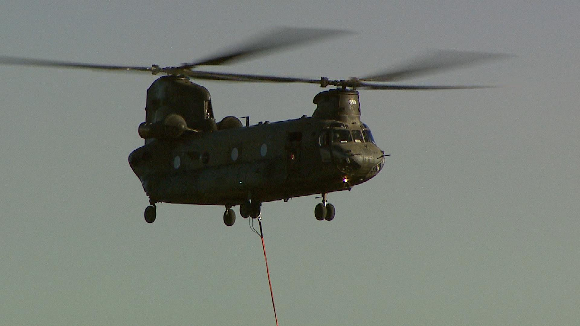 A Chinook helicopter from Fort Carson (credit: CBS)