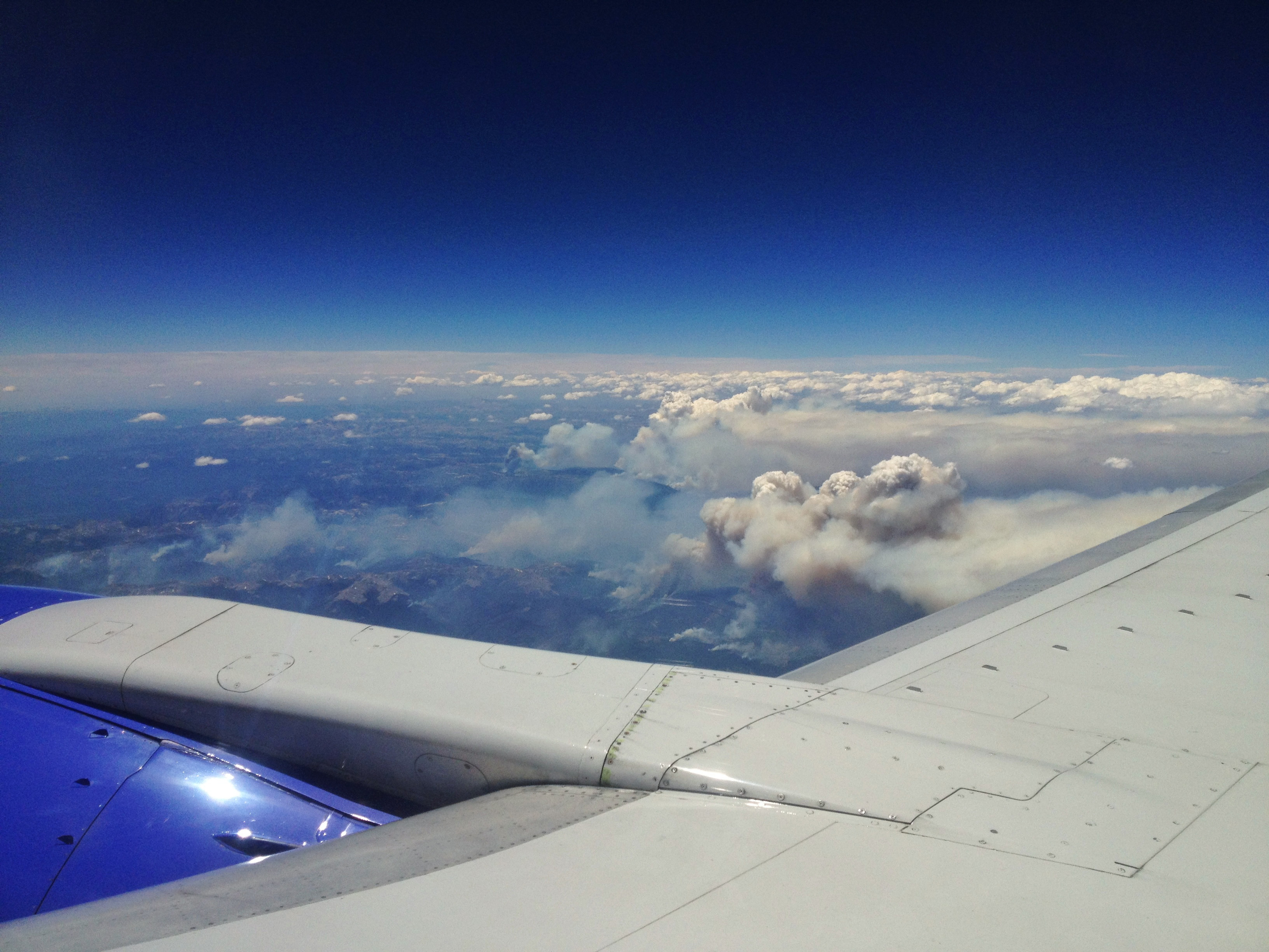 Chester Bullock sent in this photo of the West Fork Fire while he was flying to Phoenix at 36,000 feet Sunday afternoon.