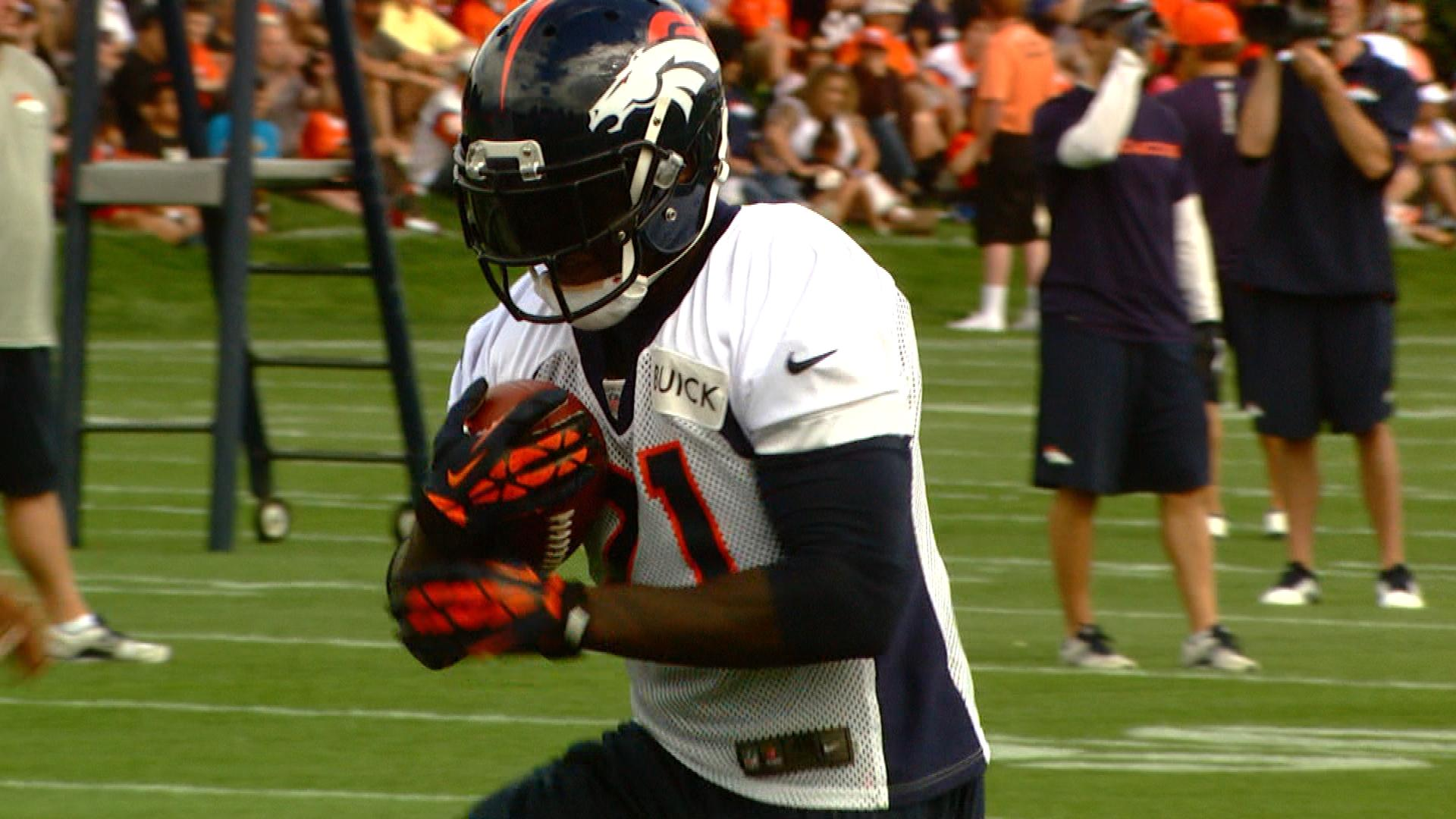 Running back Ronnie Hillman at training camp (credit: CBS)