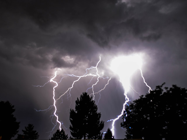 Rob Johnson sent us this picture of lightning in southwest Denver (credit: Rob Johnson)