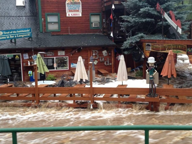 Flooding at Cactus Jack's in Evergreen (credit: Cactus Jack's)