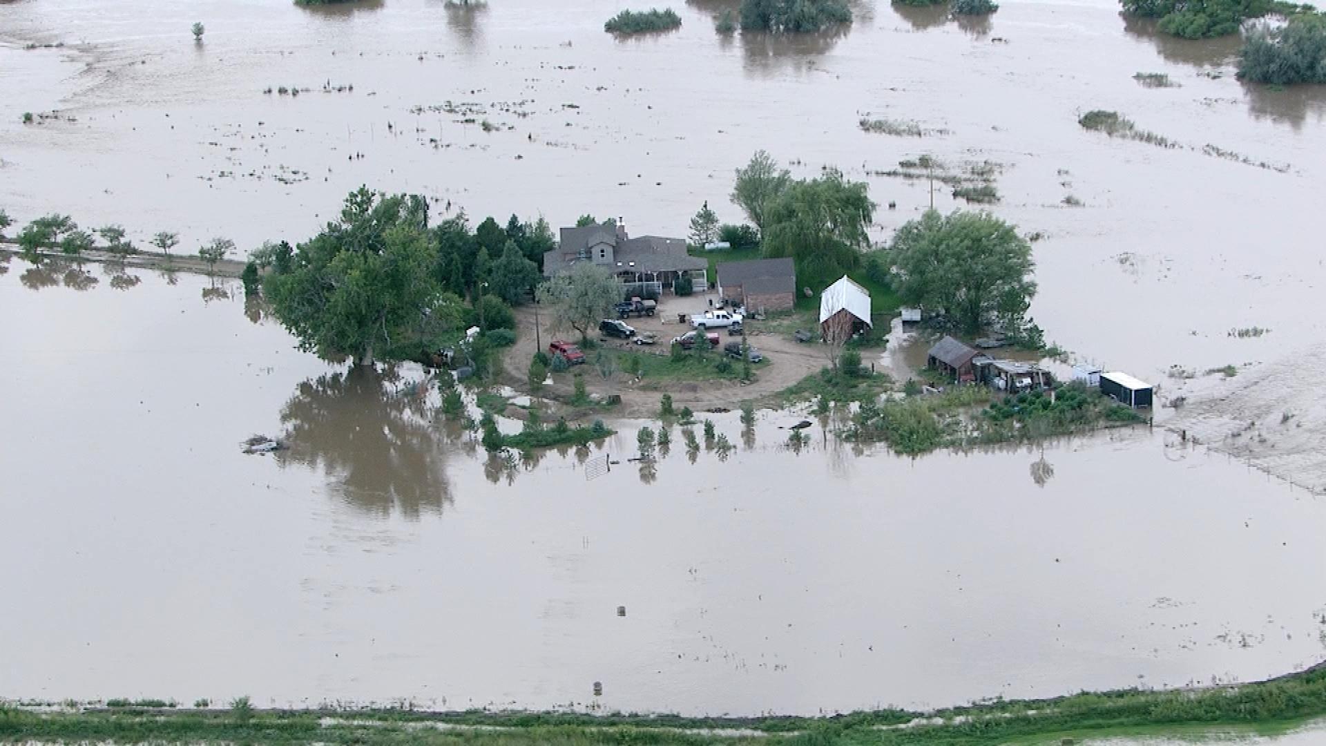 A home now on an island in Weld County (credit: CBS)