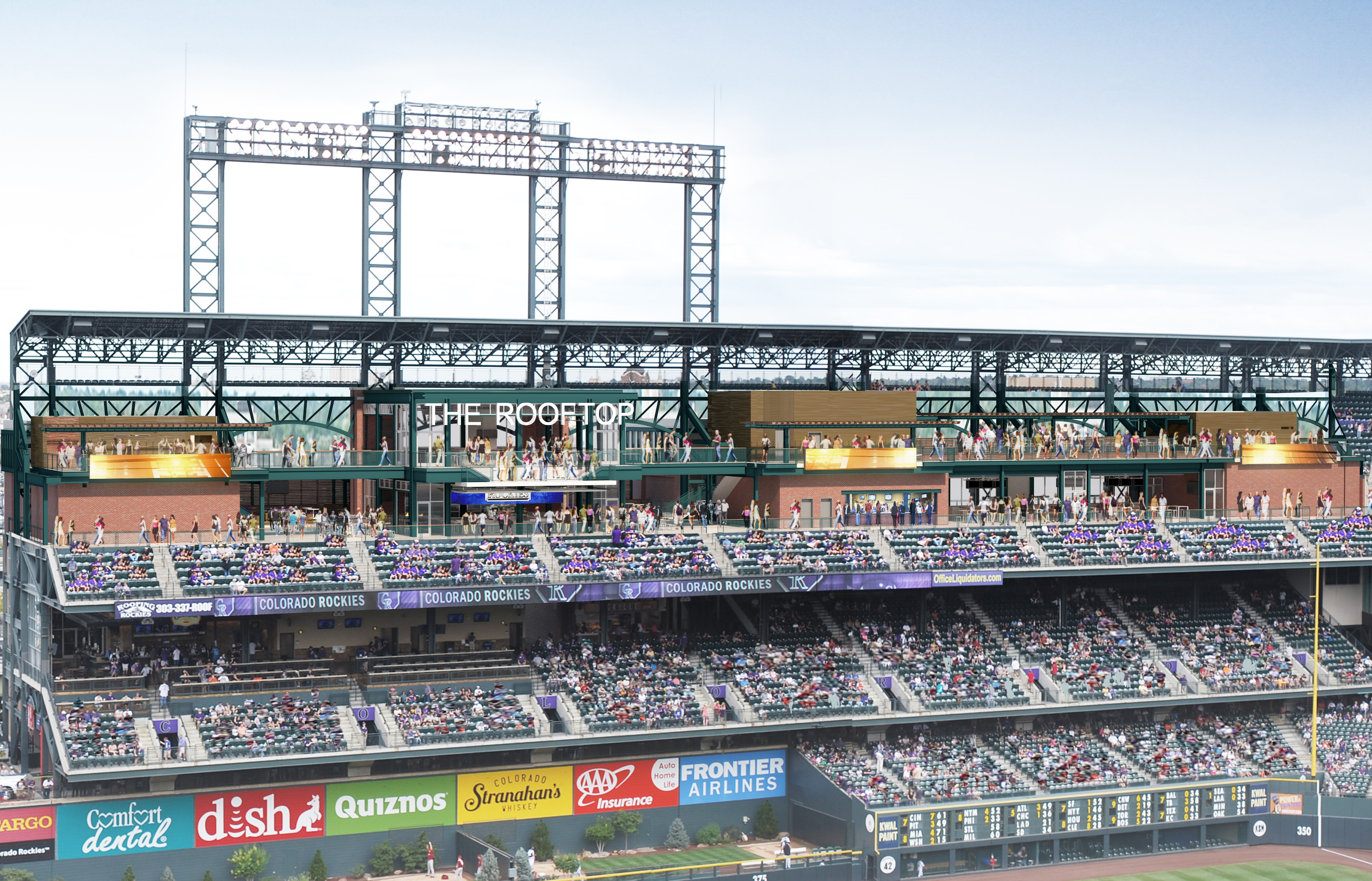 An artist's rendition of the rooftop deck (credit: Colorado Rockies)