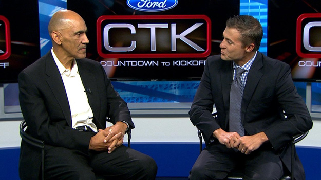 Tony Dungy pays a visit to CBS4 studios to talk with Vic Lombardi on Oct. 2013 (credit: CBS)