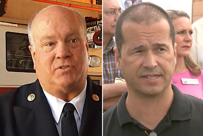 Black Forest Fire Chief Bob Harvey, left, El Paso County Sheriff Terry Maketa, right