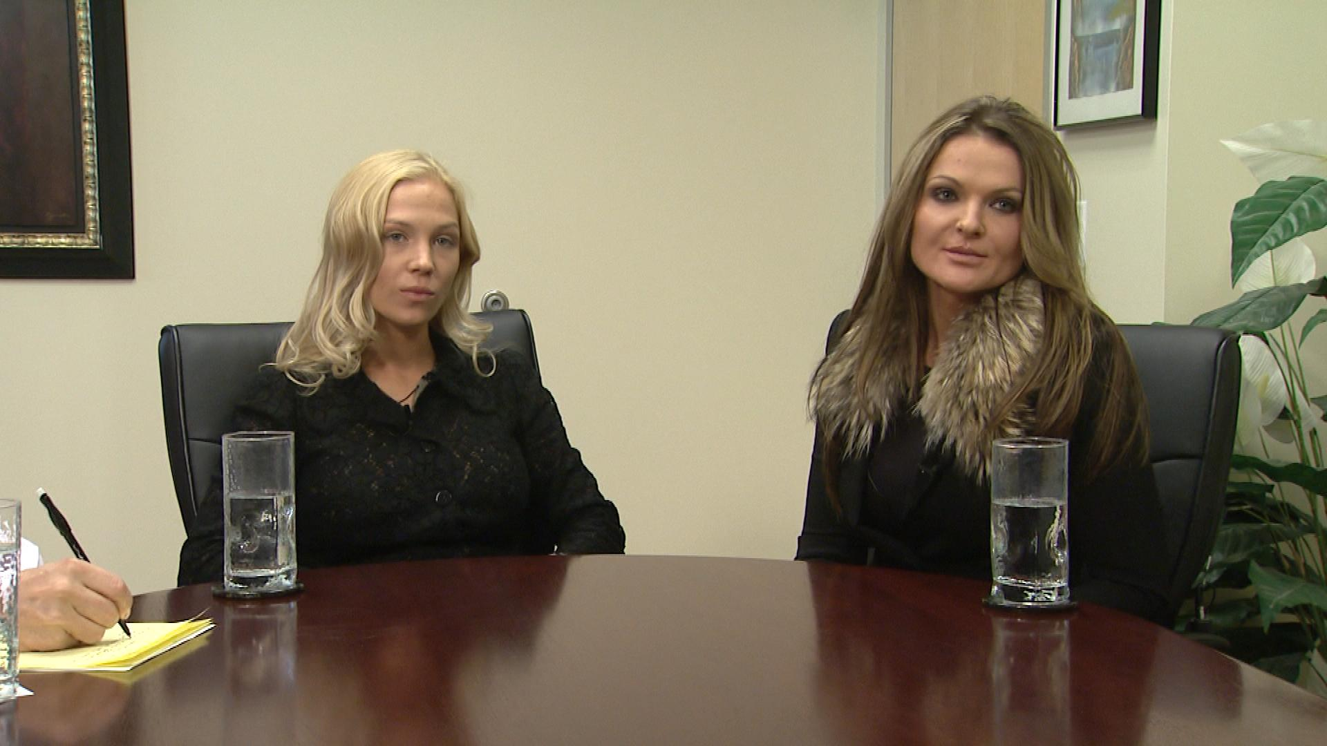 Evgeniya Vavrinyuk, left, with translator Diana Senova