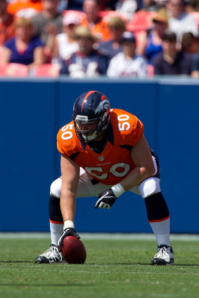 DENVER, CO - AUGUST 26:  Center J.D. Walton #50 of the Denver Broncos in action during a pre-season game against the San Francisco 49ers at Sports Authority Field Field at Mile High on August 26, 2012 in Denver, Colorado. (Photo by Justin Edmonds/Getty Images)