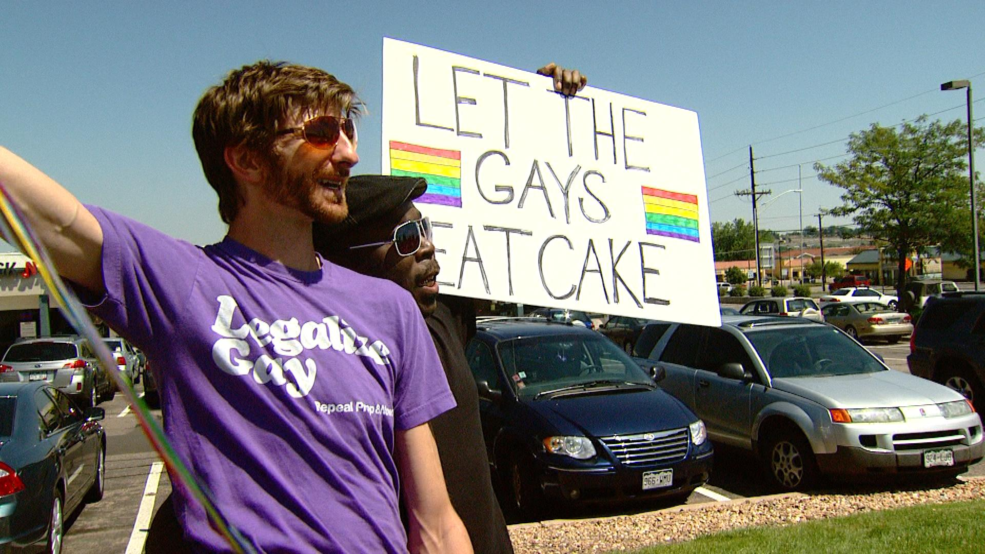 A protest outside of Masterpiece Cakeshop (credit: CBS)