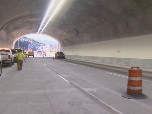 The widening project at the Twin Tunnels is complete. The expanded tunnel will reopen Dec. 13. (credit: CBS)