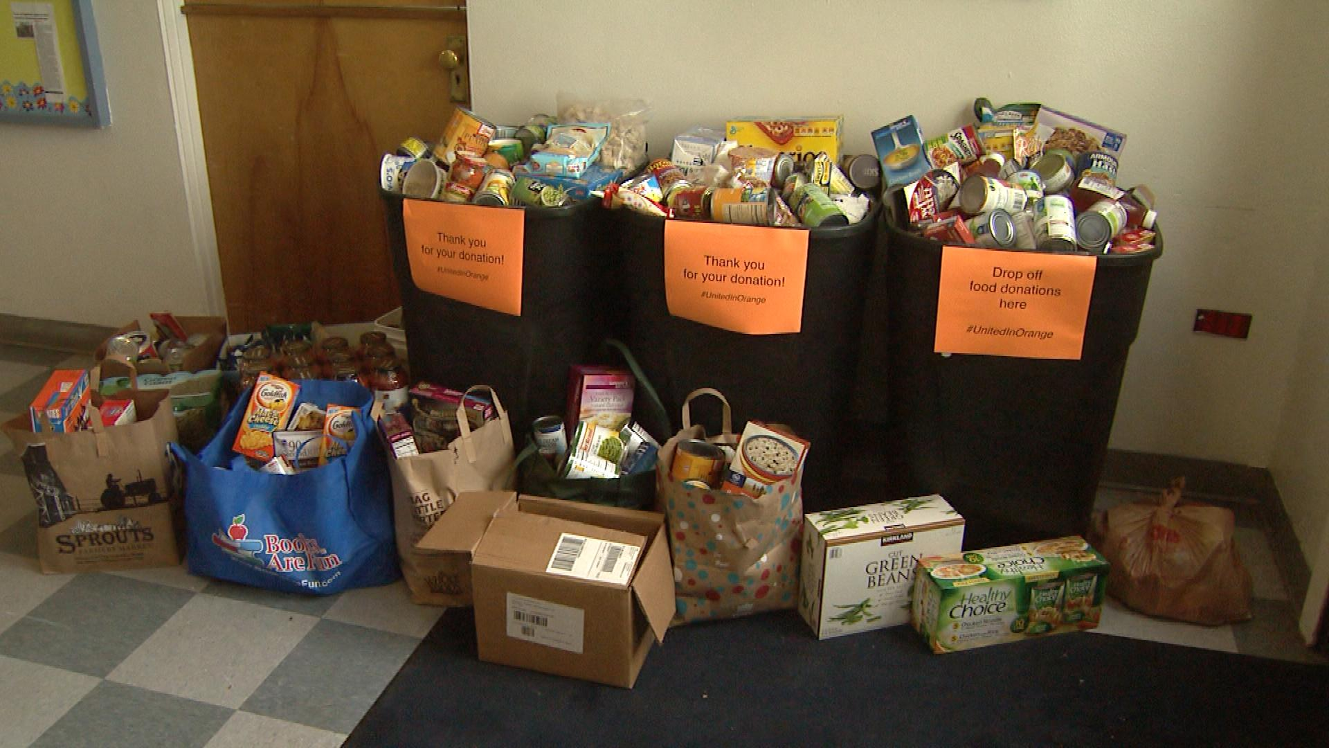 Items collected during the United in Orange Food Drive in 2014 (credit: CBS)