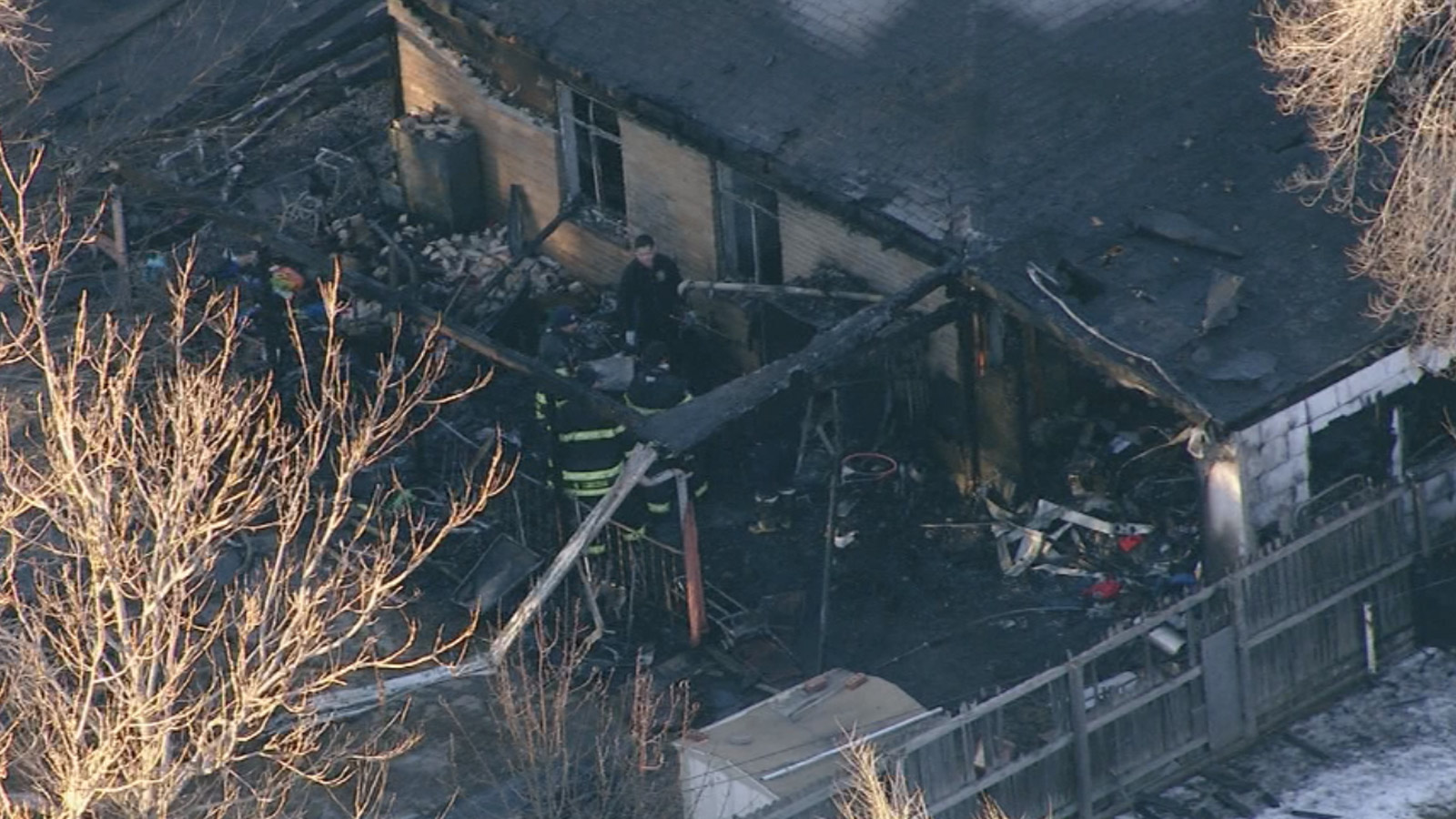 Copter4 flew over a house destroyed by an early morning fire on Friday morning. (credit: CBS)