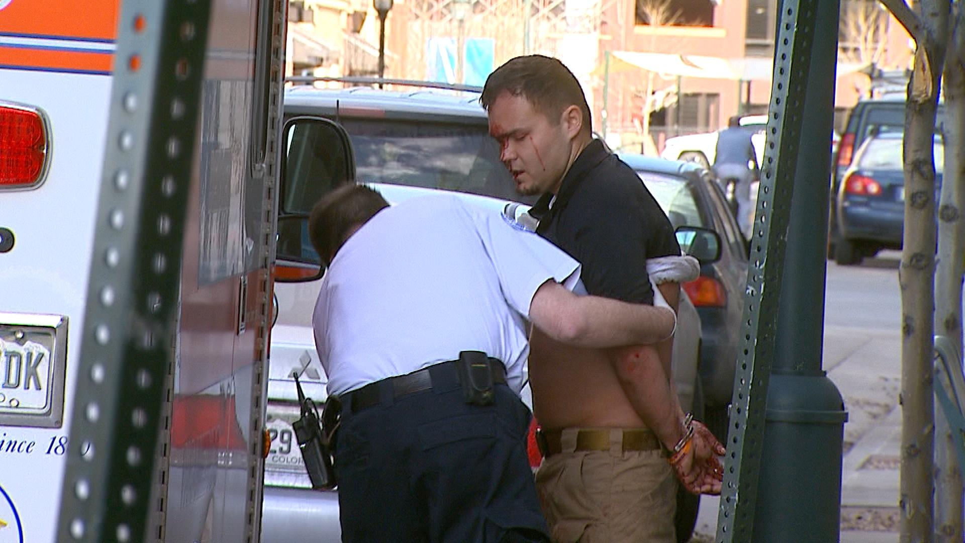 The suspect being arrested (credit: CBS)