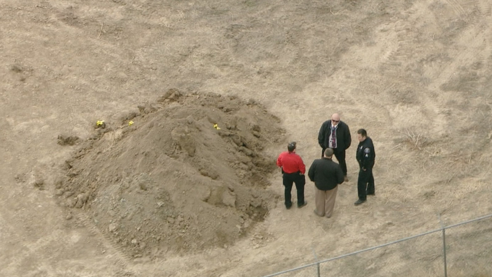Copter4 flew over the investigation after human remains were discovered near the Front Range Airport on Thursday (credit: CBS)