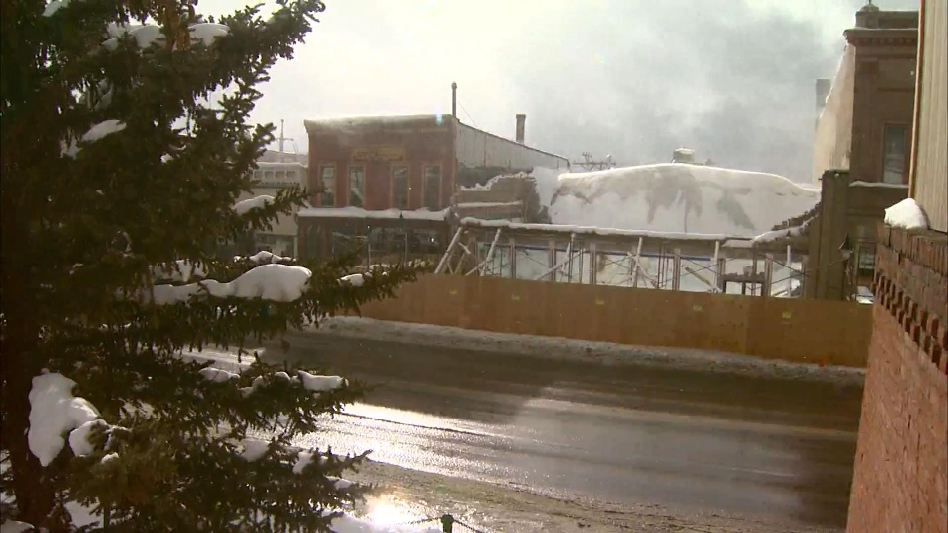 The roof collapse at the Sayer & McKee building in Leadville (credit: CBS)